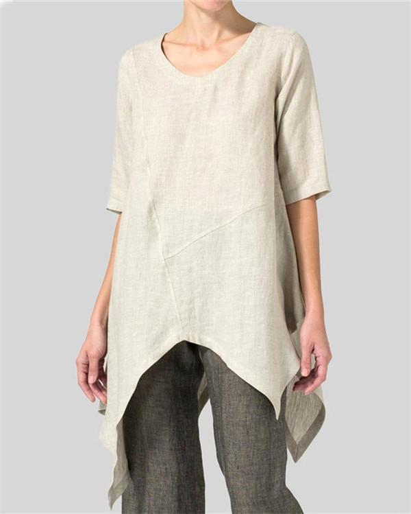 Asymmetric Solid Short Sleeve Crew Neck T-Shirts