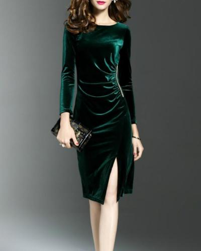 Women's Velvet Plus Size Solid Color Crew Neck Dress