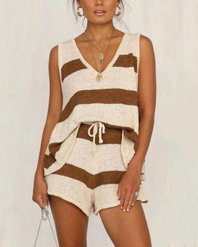 Casual Cotton-Blend Knitted Pyjama Set Tank&Shorts