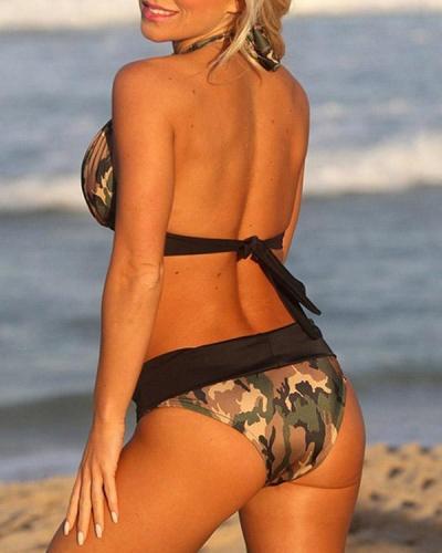 Plus Size Camo Backless High Waist Classic Bikini