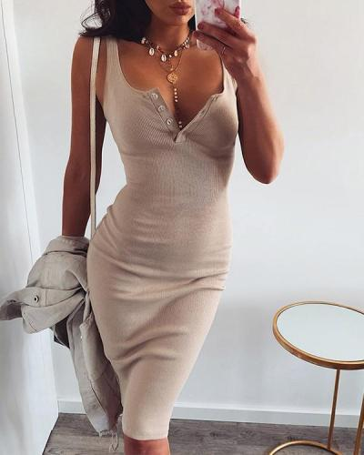 2020 Summer Sexy V-Neck Button Party Slim Dresses