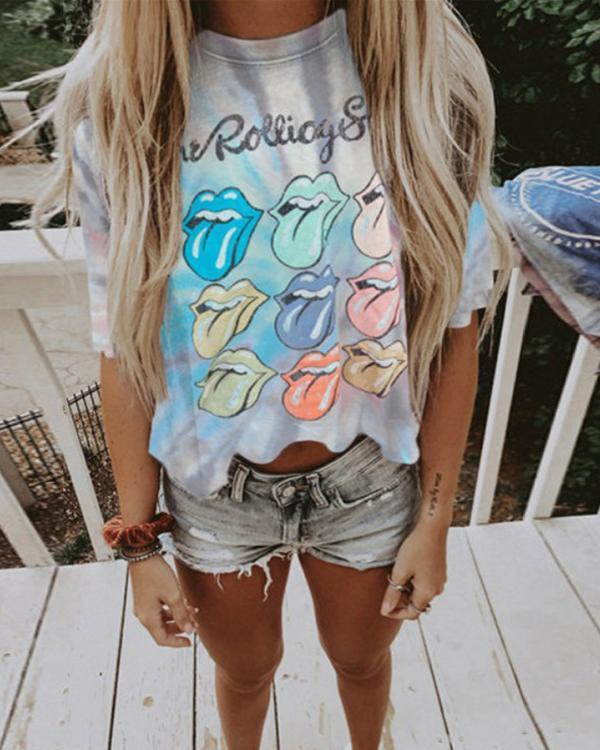 Casual Daily Tie-Dye Printed Short Tops
