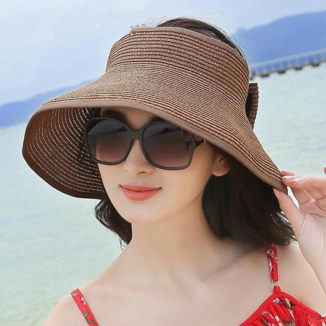 Women Foldable Bowknot Empty Wide Brim Beach Sun Straw Hat Outdoor Summer Travel Visor Cap