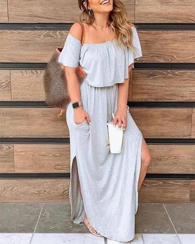 Casual Flowy Off Shoulder Summer Holiday Maxi Dresses