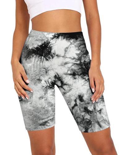 High Waist Tie Dye Print Biker Shorts