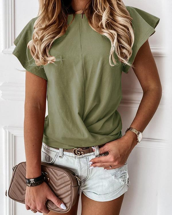 Women O Neck Short Sleeve Basic T-shirt