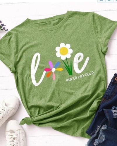 Women Love Flower Casual T-shirt Tee