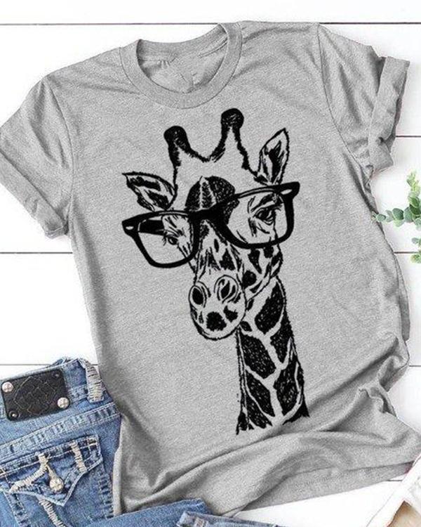 Printed Round Neck Short Sleeve Shift Shirts & Tops