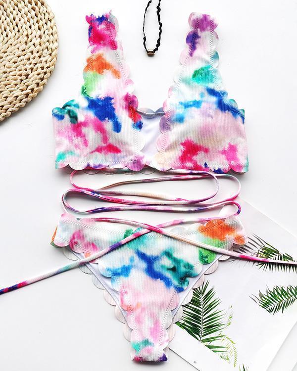 Bandage Strip Cut Flower Split Swimsuit Sexy Tie-dye Bikini