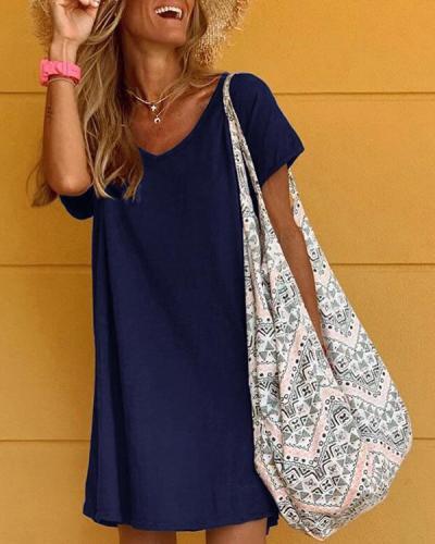 Casual Short Sleeves Mini Dress