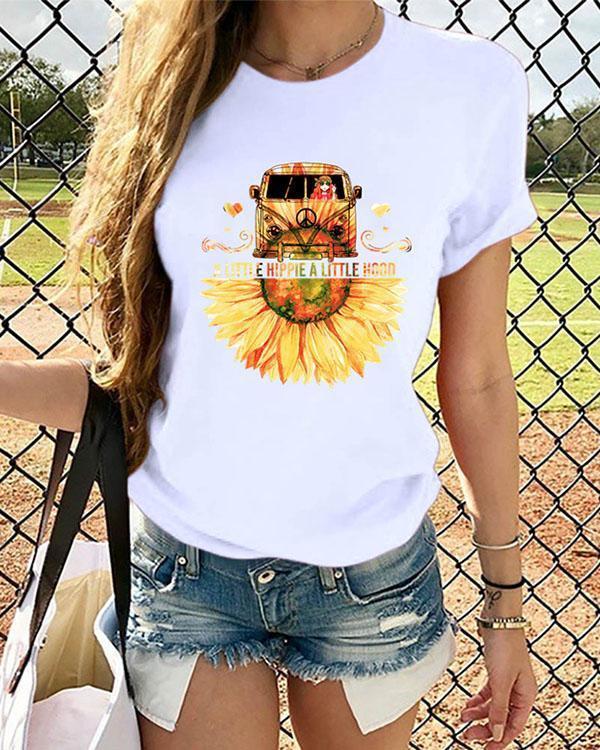 Women Sunflower Printed Tshirt Summer Tops