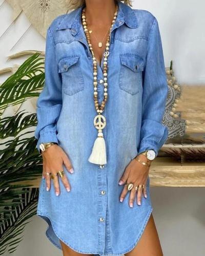 Plain Short Sleeve Long Sleeve Denim Dresses