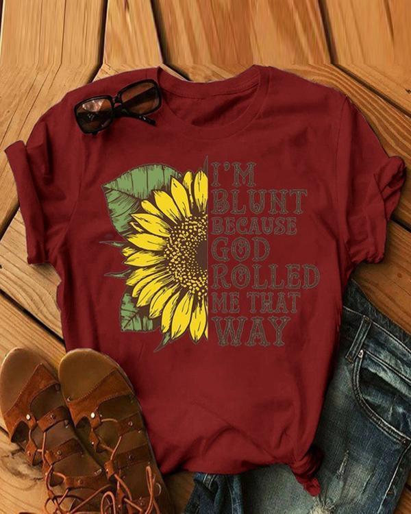 Women Sunflower Printed O-Neck Shirts Summer Tops