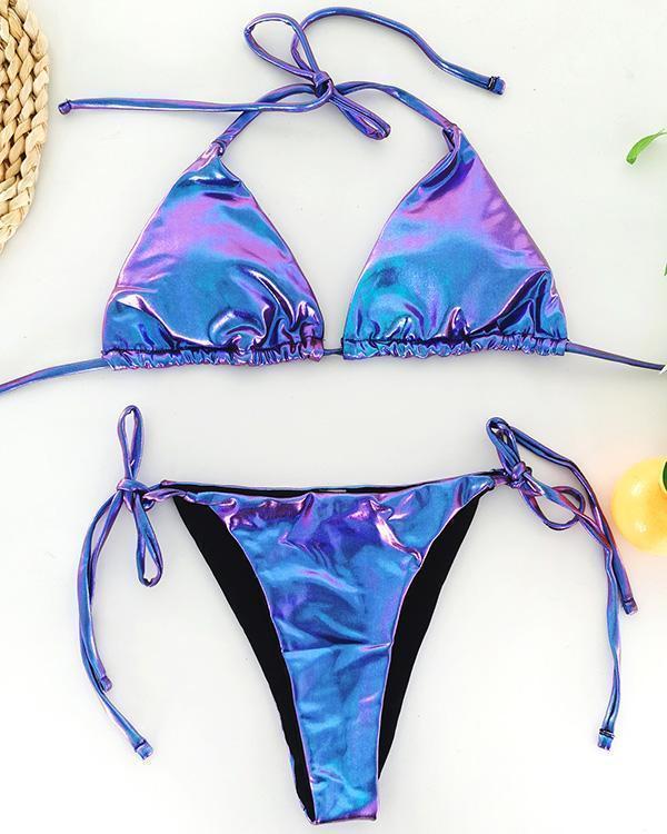 Sexy Triangle Bag Leather Split Bikini