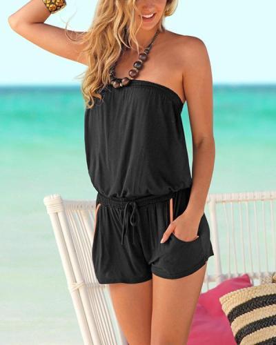 One-piece Collar Elastic Waist Tube Top Beach Casual Jumpsuit