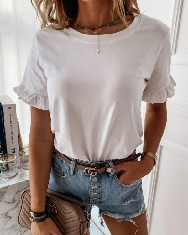 Butterfly Sleeve Women Shirt Blouse Casual Solid Ruffle Short Sleeve Shirt