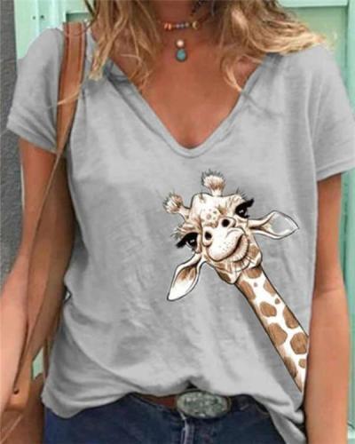 Women Simple Printed V Neck Short Sleeve Tops Shirt