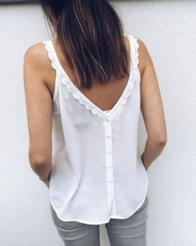 Fashion Solid V Neck Lace Tank Tops