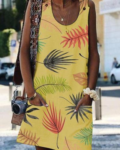 Bohemian Printed Drawstring Sleeveless Plus Size Dresses