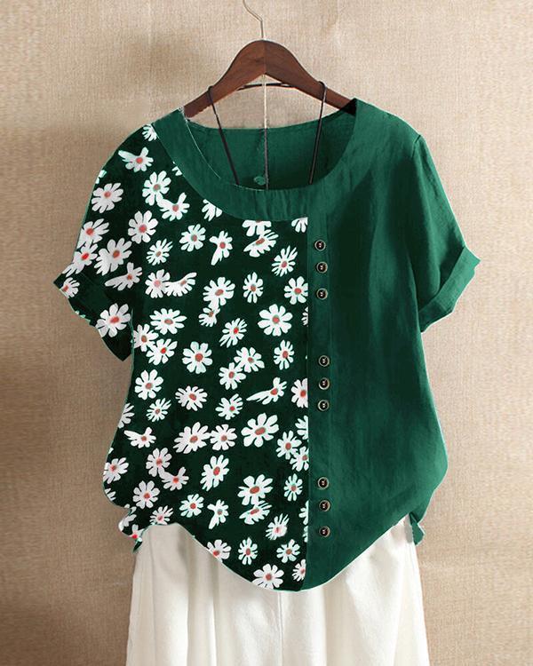 Casual Floral Printed Button Asymmetrical Hem O-Neck T-shirt