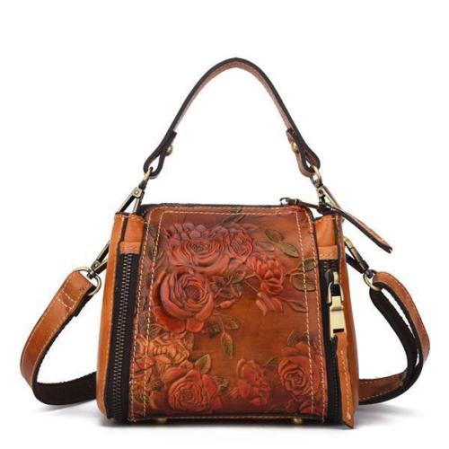 Genuine Leather Handbag Hand Embossed Craft Flower Crossbody Bag