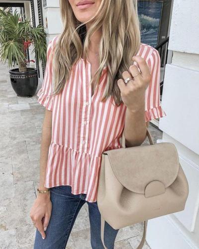 Stripes Print Short Sleeve T-shirt