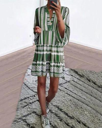 Bohemian Printed V Neck 3/4 Sleeve Dresses