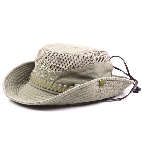 Embroidery Visor Bucket Hat Fisherman Hat Outdoor Mesh Sunshade Cap