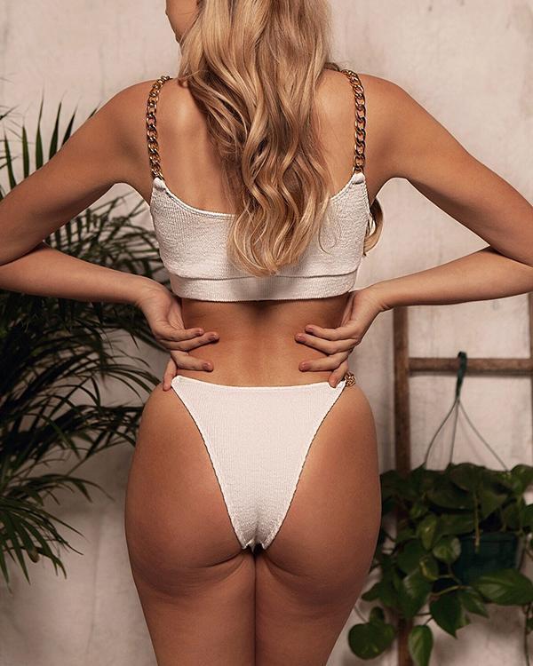 Cahin Spaghetti Strap Bikini Set
