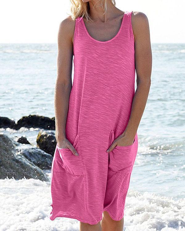 Women Solid Color Pocket Dress