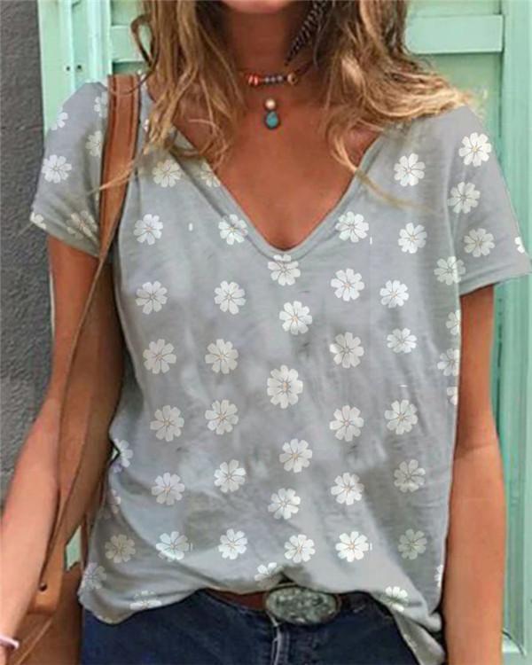 Short Sleeve Casual V Neck Tops Shirt