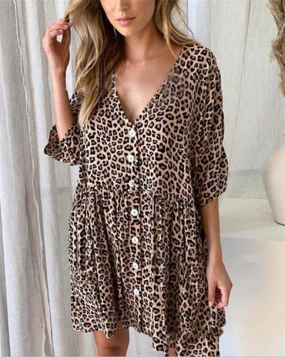 Sexy V Neck Leopard Summer Holiday Daily Fashion Mini Dresses