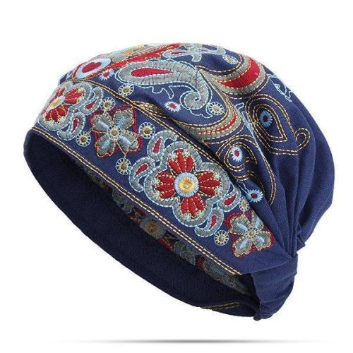 Women Embroidery Ethnic Cotton Beanie Hat Vintage Good Elastic Breathable Summer Turban Caps