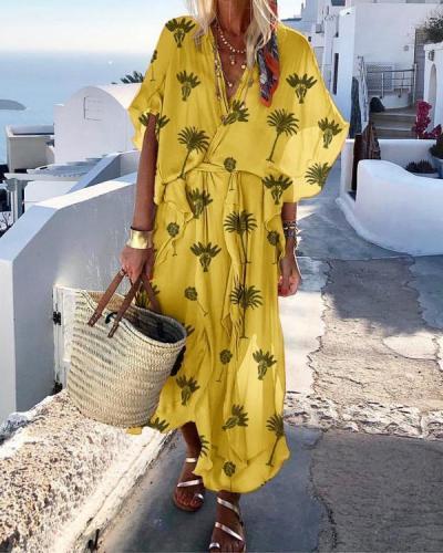 Bohemian Summer V Neck Printed Short Sleeve Plus Size Dresses