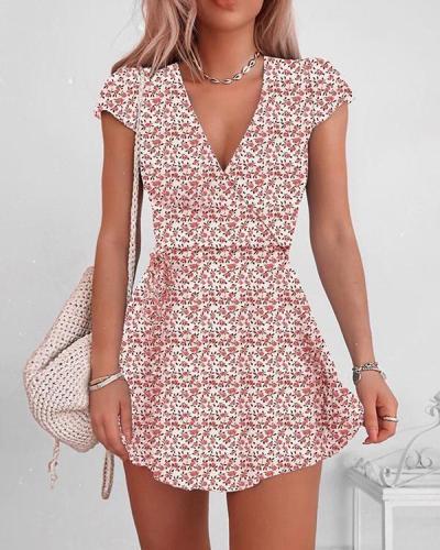 V-neck Floral Print Wrap Dress
