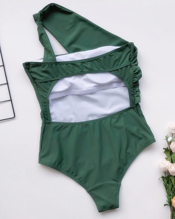 One-shoulder One Piece Swimsuit Sexy Plain Bikini