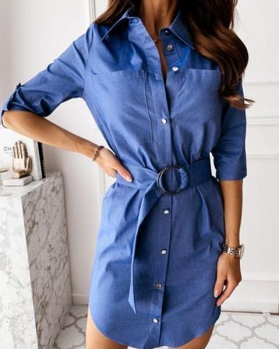 V Neck Casual Cotton-Blend Dresses