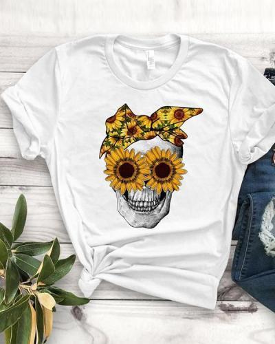 Women Lover Sunflower Lover Sukull T-shirt