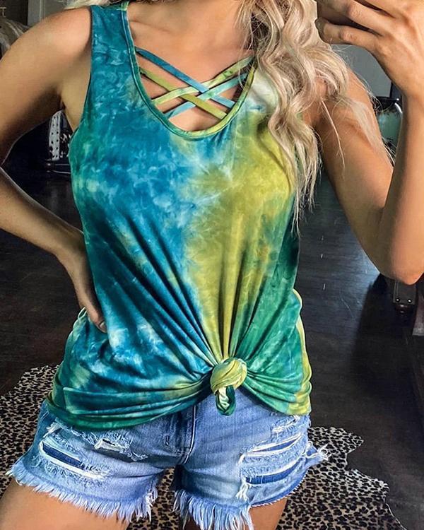 Strap Front Cross Tie Dye Print Tank Top