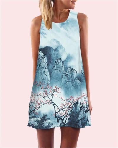 Landscape Printed Sleeveless Beach Dress