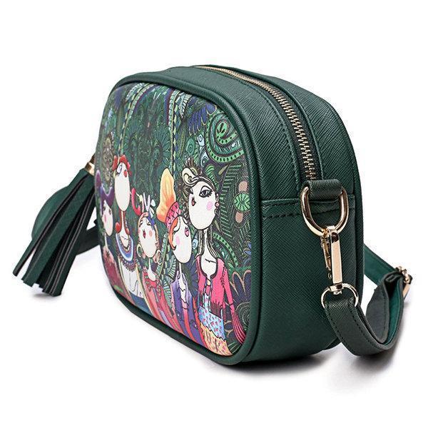 Bohemian Spring Forest Printing PU Crossbody Bag Phone Bag