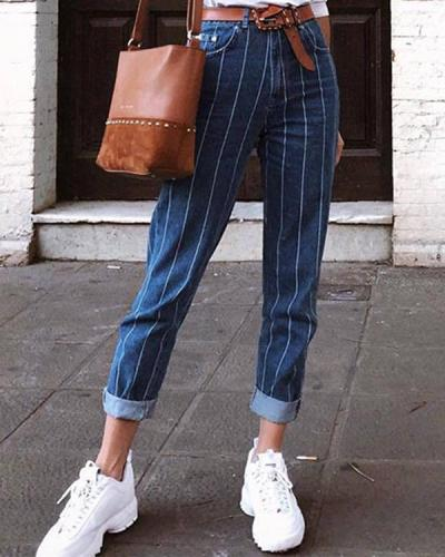 Women  Button Stripe Fashion Jeans Pants