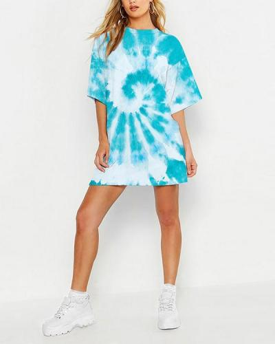 Multi Color Tie-dye Loose T-Shirt Mini Dress