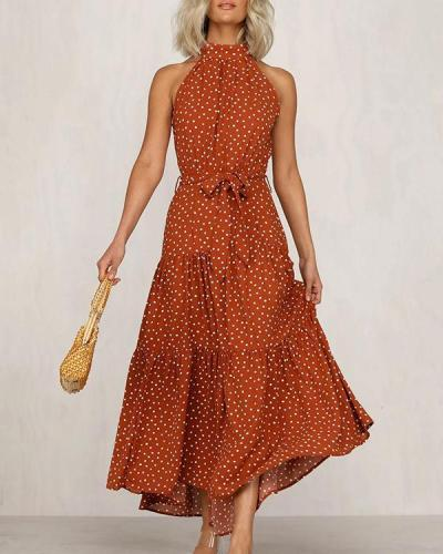 Polka Dot Sleeveless Boho Maxi Dress