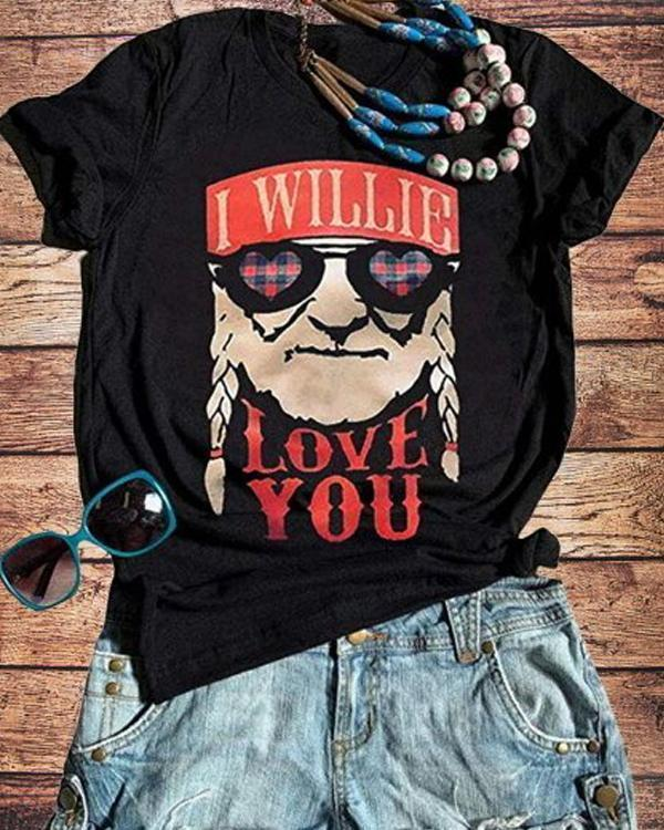 Vintage Short Sleeve Statement Letter Printed Plus Size Casual Tops