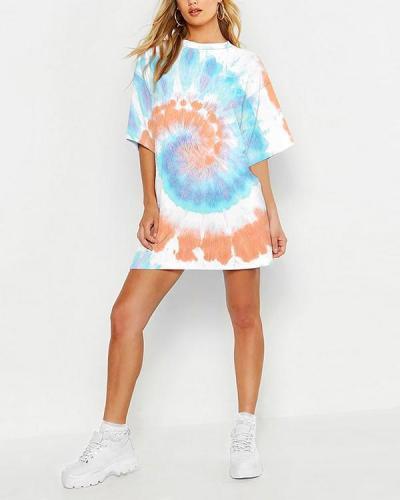 Multi Color Tie-dye Loose T-Shirt Mini Dress
