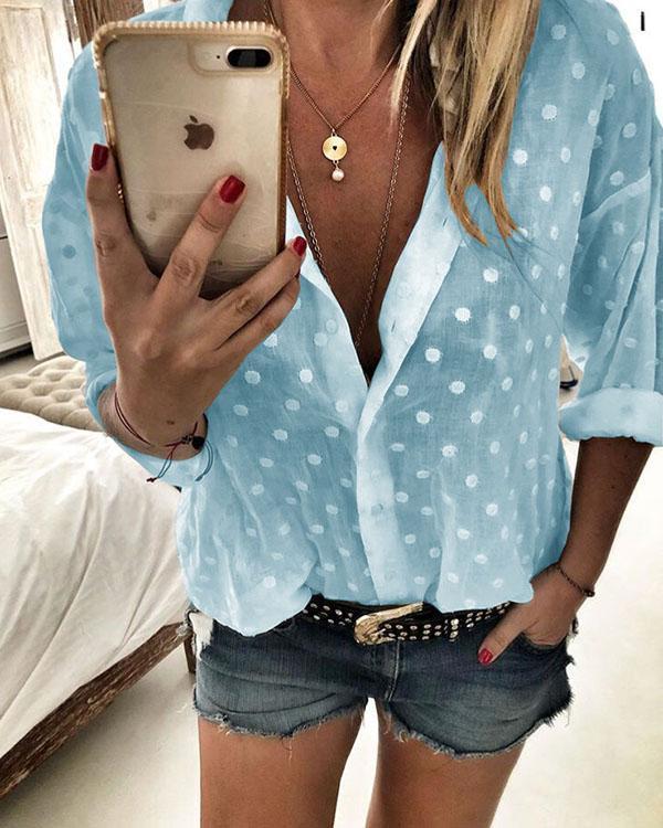 Polka Dot V-Neck Long Sleeves Button Up Casual Elegant Blouses