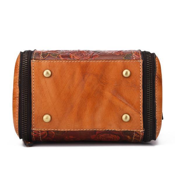 Genuine Leather Handbag Hand Embossed Craft Flower Crossbody Bag