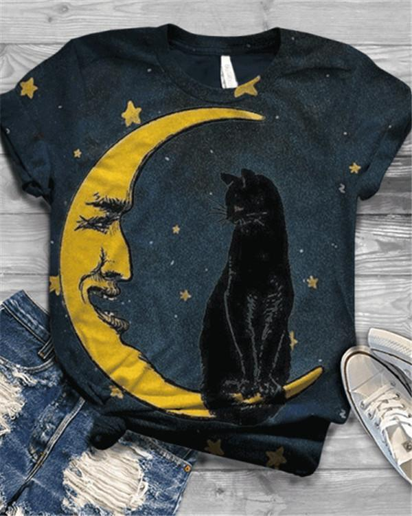 Plus Size Cat Printed Vintage Short Sleeve Crew Neck Shirts & Tops