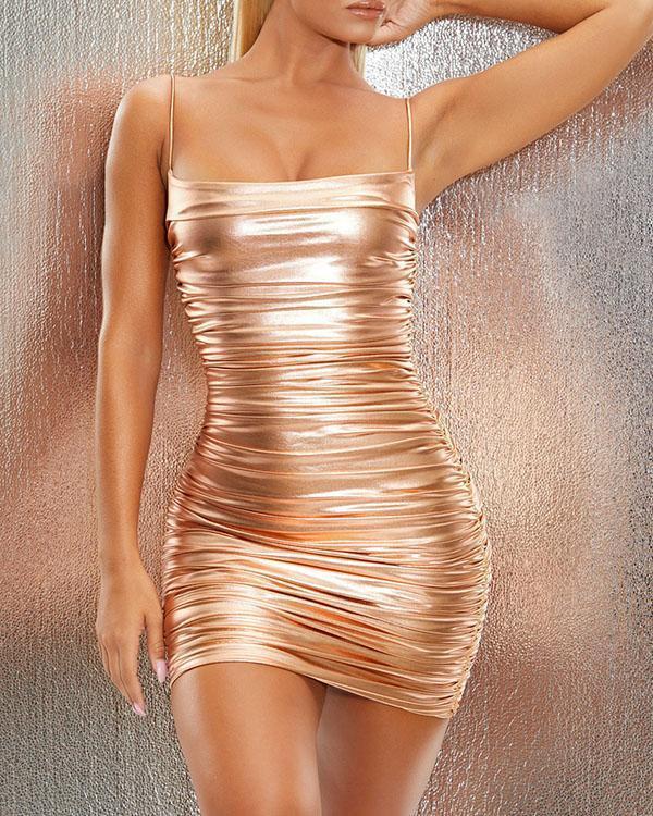 Bronze Colorful Sexy Slim Mini Ruched Camisole Dress